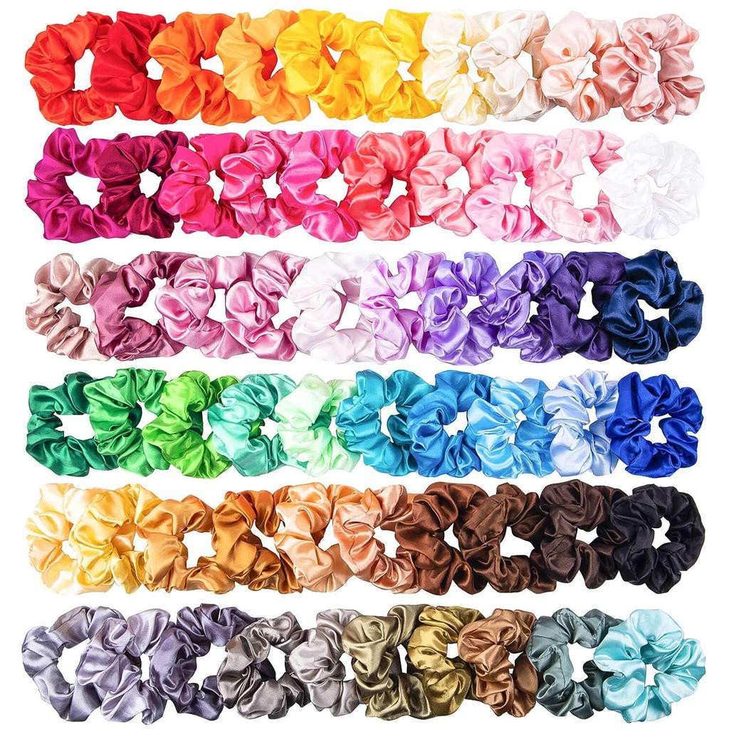Colorful Silk Satin Scrunchie Set 60Pcs Strong Elastic Bobble Hair Bands Traceless Hair Rope Accessory For Ponytail Holder
