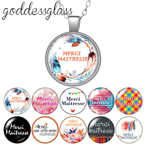 Le français merci maîtresse patterns Round Glass glass cabochon silver plated/Crystal pendant necklace jewelry for Gift