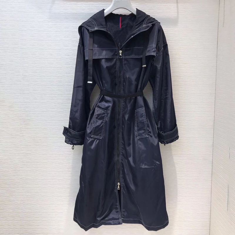 Long   Trench   Coat For Women 2019 Casual Solid Color Hooded Zipper Outwear Fashion Sashes Office Coat