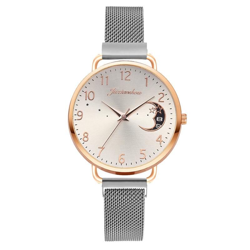 Rose Gold Mesh Strap Women's Fashion Watches Simple Numbers Dial Luxury Quartz Watch Women Clock Rose Gold Pointer Wristwatches 13
