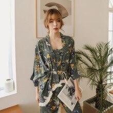 New Women Pajama Sets Womens 3 Piece Set Fringed Lace Cotton Sexy Spring Autumn Pijama Nightwear Printing Plus Size Tracksuit
