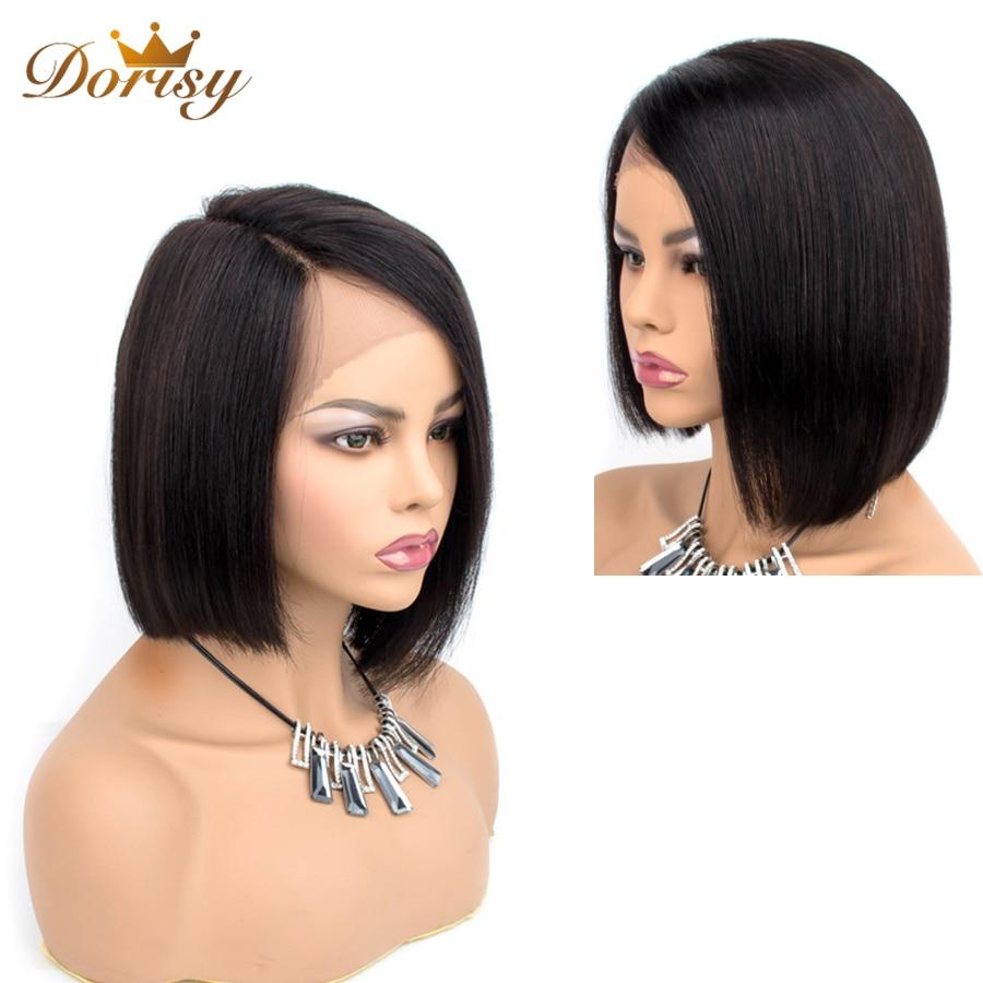 Short Human Hair Wigs Straight Brazilian Hair Lace Part Wigs Pre Plucked Non-Remy Dorisy Hair L Shape