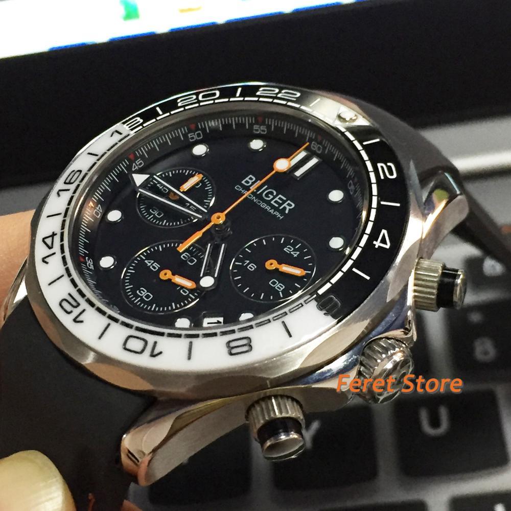 Bliger new 41mm black dial white ceramic bezel silver case rubber strap sapphire glass chronograph quartz movement men's Watch