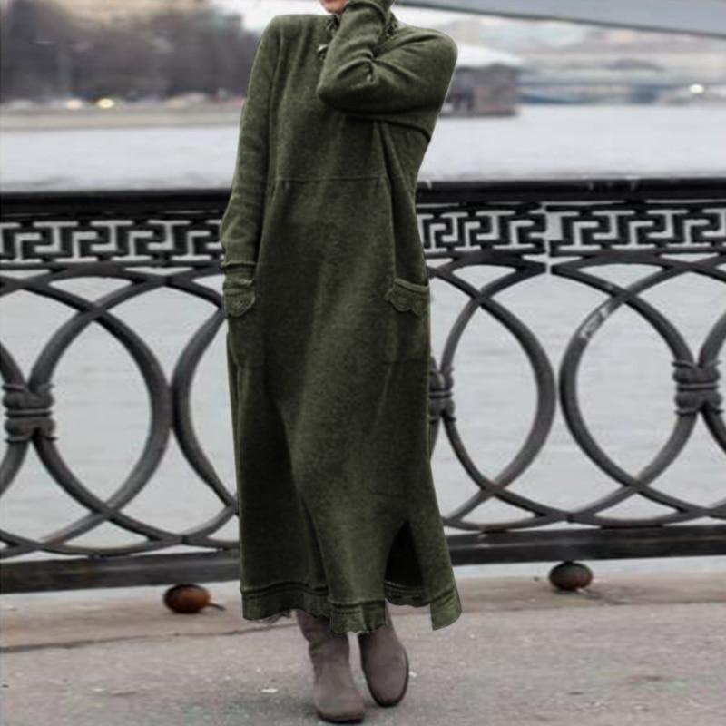 2020 ZANZEA Women Autumn Long Sleeve Long Sweatshirt Dress Lace Pacthwork Sundress Solid Vestido Robe Femme Loose Fleece Dresses