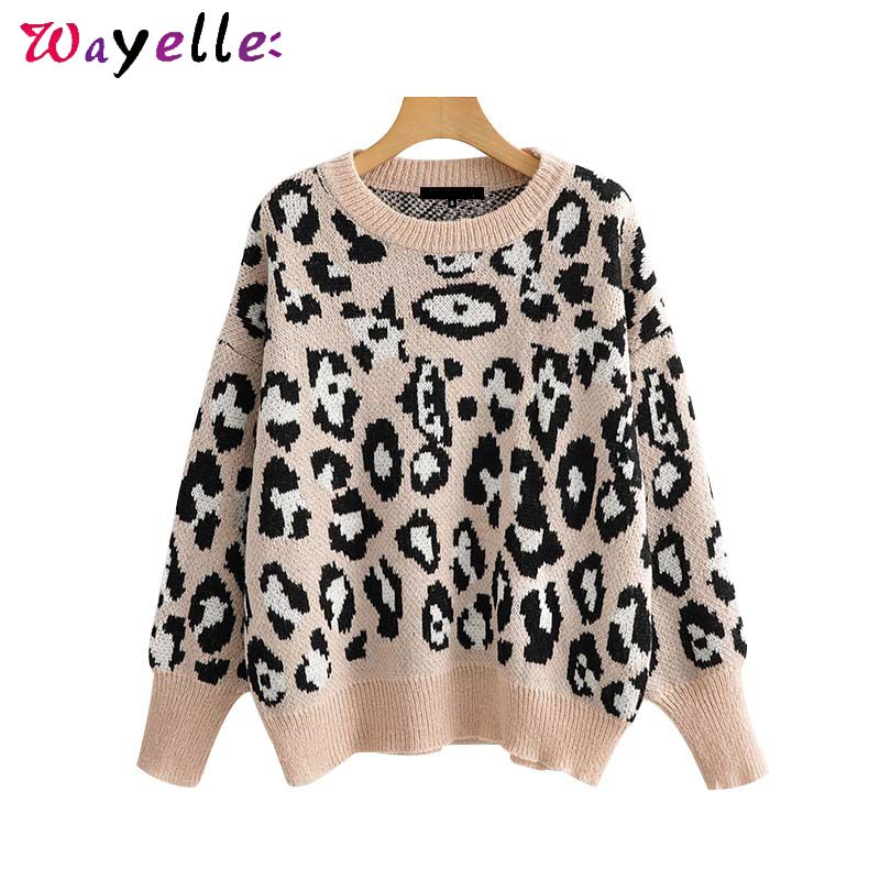 Leopard Pattern Knitted Sweater Women Autumn Winter O-Neck Long Sleeve Loose Pullovers Women Sweaters Oversize Crop Top Women