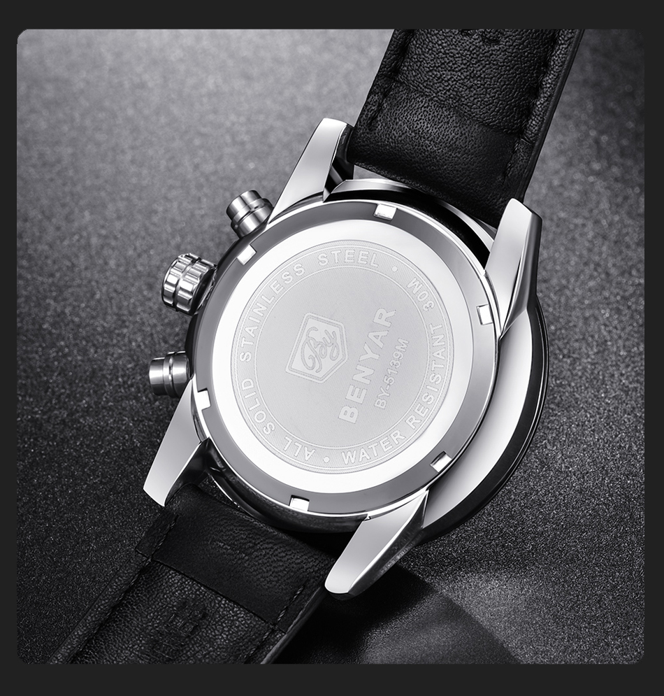 Benyar 5139 Watches Men Luxury Brand Quartz Watch Fashion Chronograph Sport Reloj Hombre Clock Male Hour Quartz Watches Aliexpress