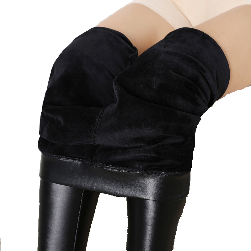 New Winter Leggings Warm Legging Thickening Sexy Pants High Waist Plus Size Velvet Solid Faux PU Leather Leggings Dropshipping