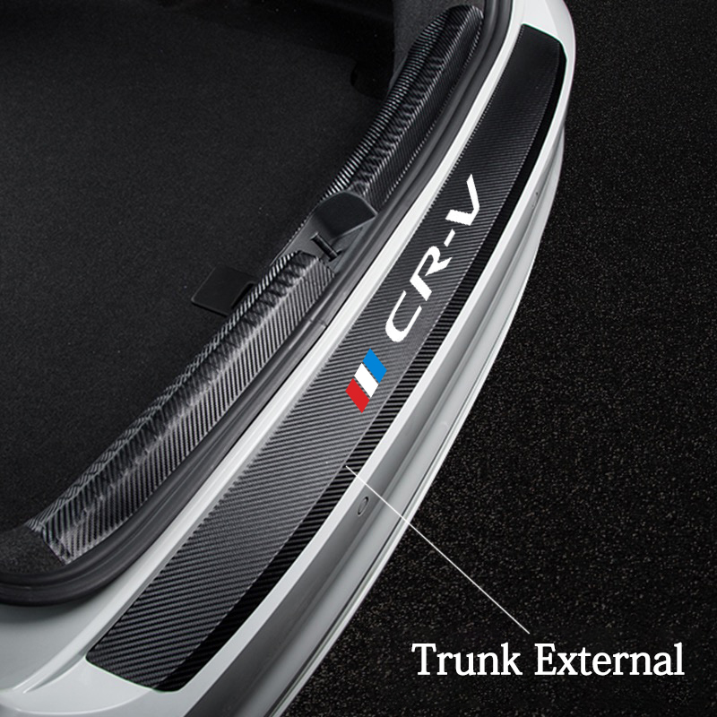 black Car Door Sill Stickers for Honda CR-V Threshold Protector Carbon Fibre Leather