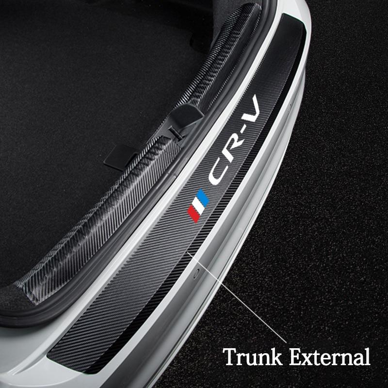 Кожа из углеродного волокна заднего бампера Защита Наклейка для Honda CR-V CRV 2017 2018 2019 2020 багажник пластина хвост накладка защитный