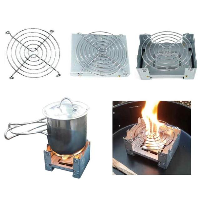 Camping Wood Stove Portable Outdoor Camping Foldable Wax Furnace with Stainless Steel Disc Wire Bracket 1