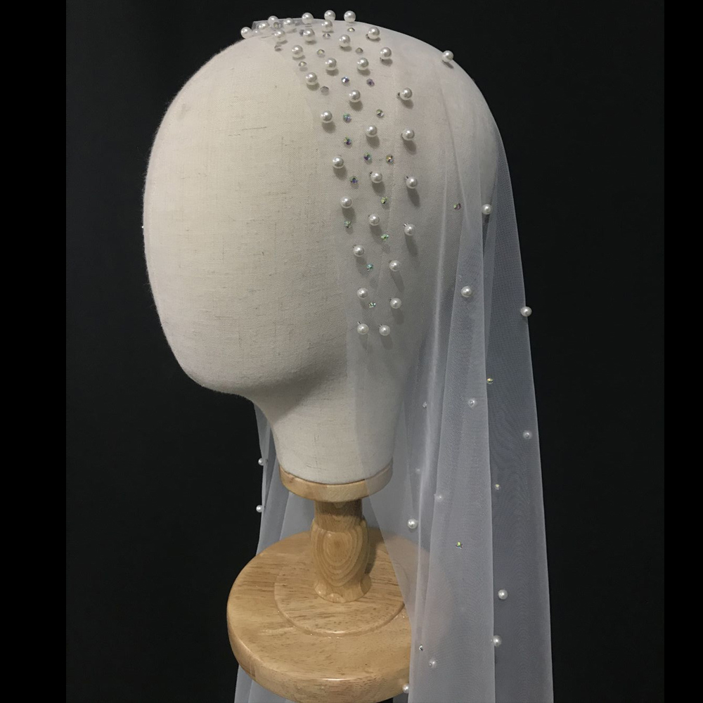 2M Length Pearls Wedding Veil Tulle 1T White Bridal Veil Elegant Beaded Bride Veil Ivory Bridal Party Veils Without Comb