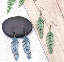 Verdigris Patina Boho Retro Green Leaf Earring Tassel Hanging Dangle Drop Bohemian Ethnic Ancient Greek Women Jewelry
