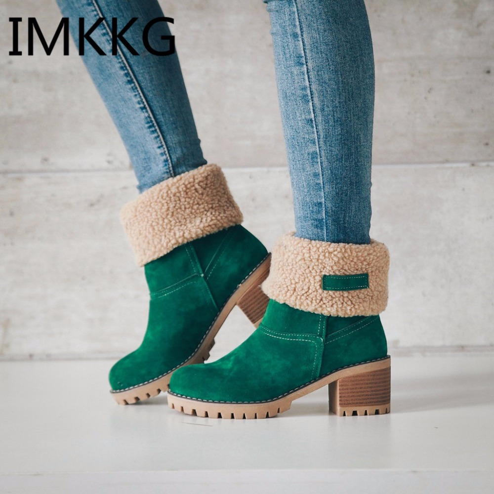 Women's boots winter 2019 new suede thick with round head cuffed fur warm snow boots fashion high heel black green boots