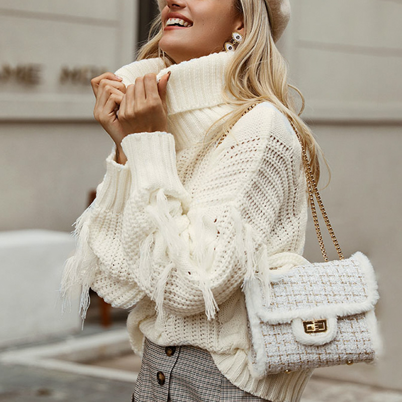 Melegant 2019 Turtle Autumn Winter Sweater Women Tassel Knitted Sweaters Jumpers Pullovers High Fashion Ladies White Sweater