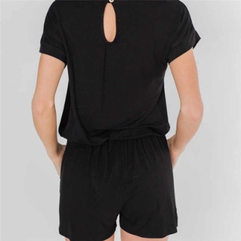 Kobiety Sexy O Neck kombinezon moda luźne kawałek spodnie eleganckie stałe z krótkim rękawem w paski kombinezony Hollow Out powrót