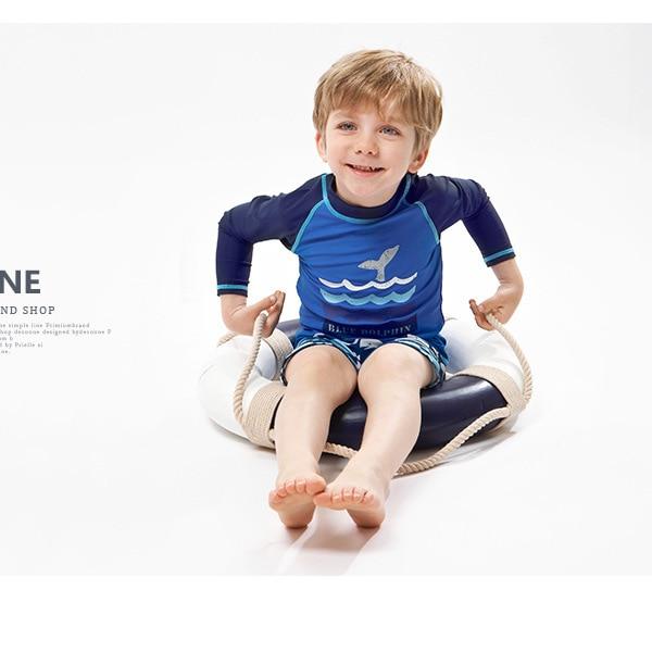 Haiyishan 2018 New Style KID'S Swimwear Boy BOY'S Split Type Boxers Long Sleeve Sun-resistant Warm Hot Springs Bathing Suit