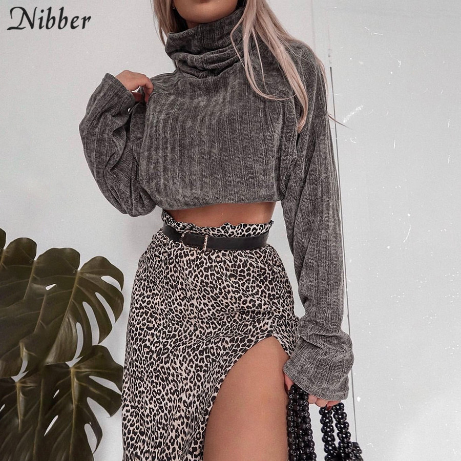 Nibber Autumn Pure Harajuku Turtleneck Sweater Womens 2019 Fall Winter Fashion Retro Leisure Crop Tops Mujer Slim Loose Sweater