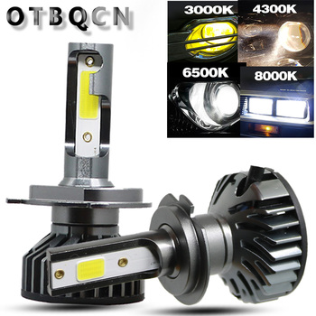 OTBQCN Mini reflektor samochodowy H4 H7 LED 8000K 6500K 4300K 3000K H1 H11 H8 H9 9005 9006 H3 lampa z żarówką LED HB3 HB4 Auto światło przeciwmgielne 12V tanie i dobre opinie Universal 12 v 6500 k 10 000LM Pair 9005 9006 H1 H3 h11 H1 H7 external lights H7 H4 led bulb lamp H11 12V car bulbs COB led lamp car lights led h4 led bulbs lamp for ca