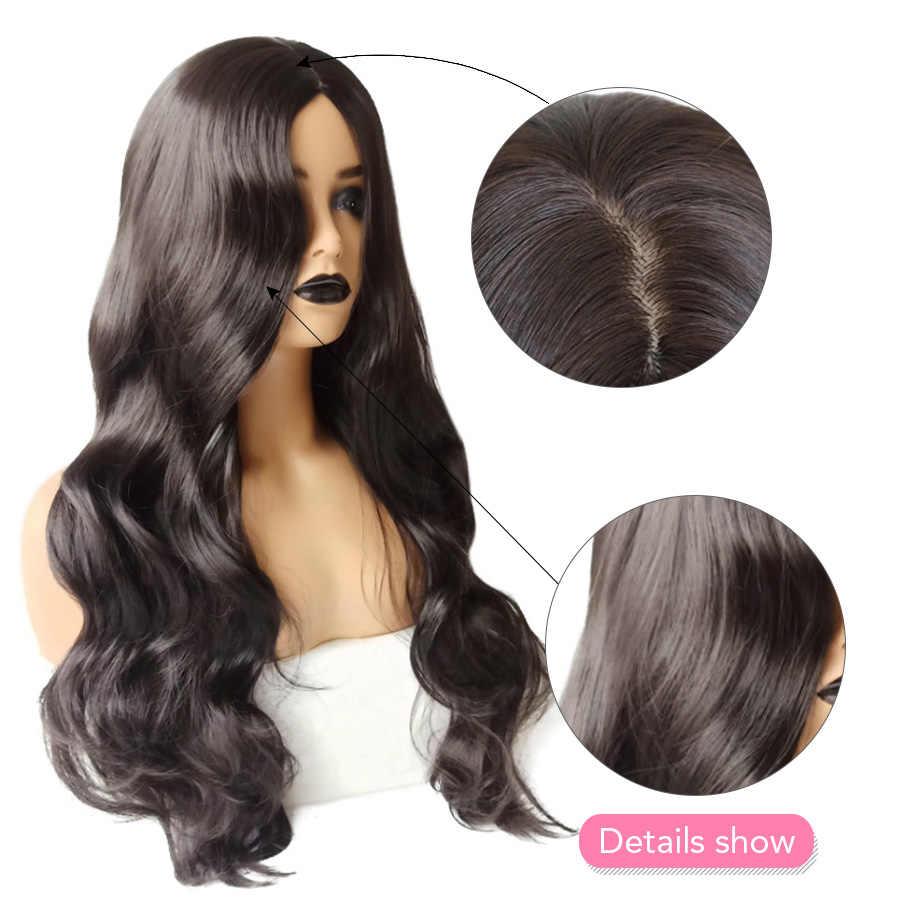 """Belleza en línea 26 """"parte profunda de seda superior pelucas sintéticas onda del cuerpo pelucas largas onduladas pelo de fibra resistente al calor pelucas para mujeres"""