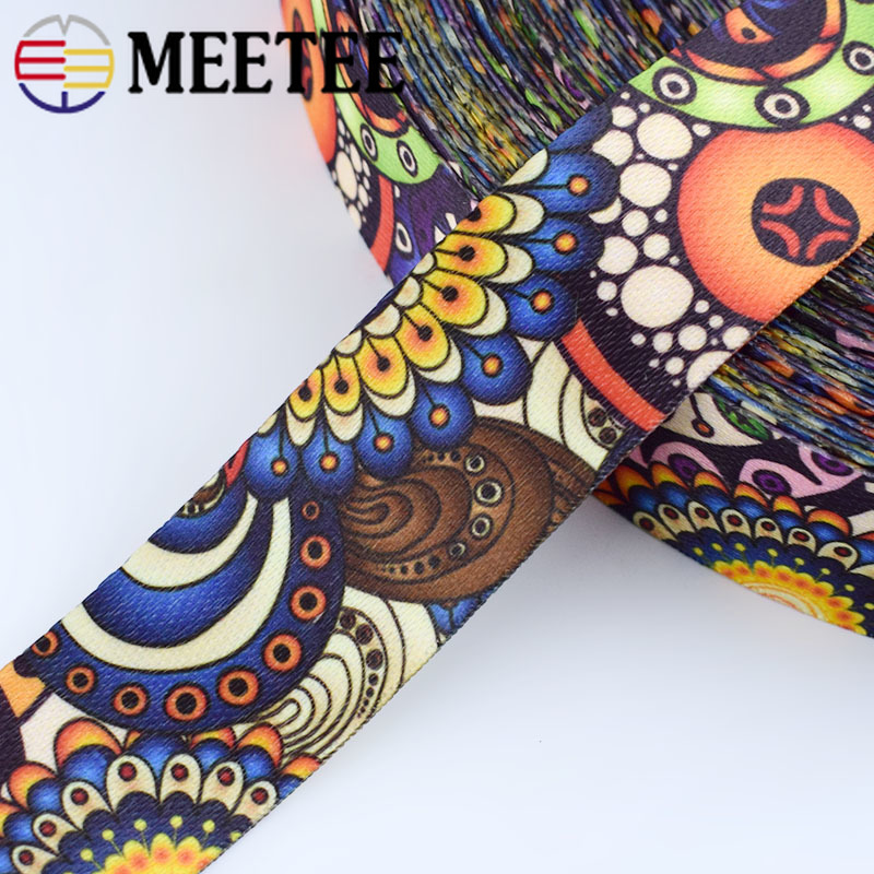 Meetee 5/10M 38mm Polyester Jacquard Webbing Fashion Ethnic Pattern Lace Ribbon DIY Bags Strap Garment Belt Sewing Accessories