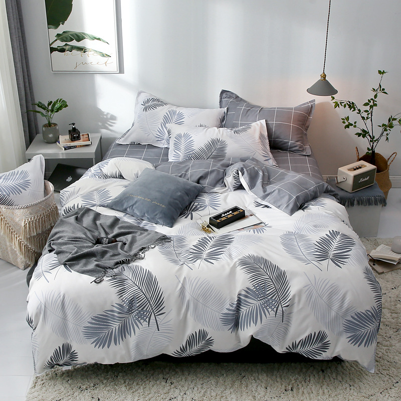 Sisher Printed Duvet Cover set Queen Plant Green leaf Cotton Single Double King Size Quilt Covers sets Simple Bedclothes duvets in Duvet Cover from Home Garden