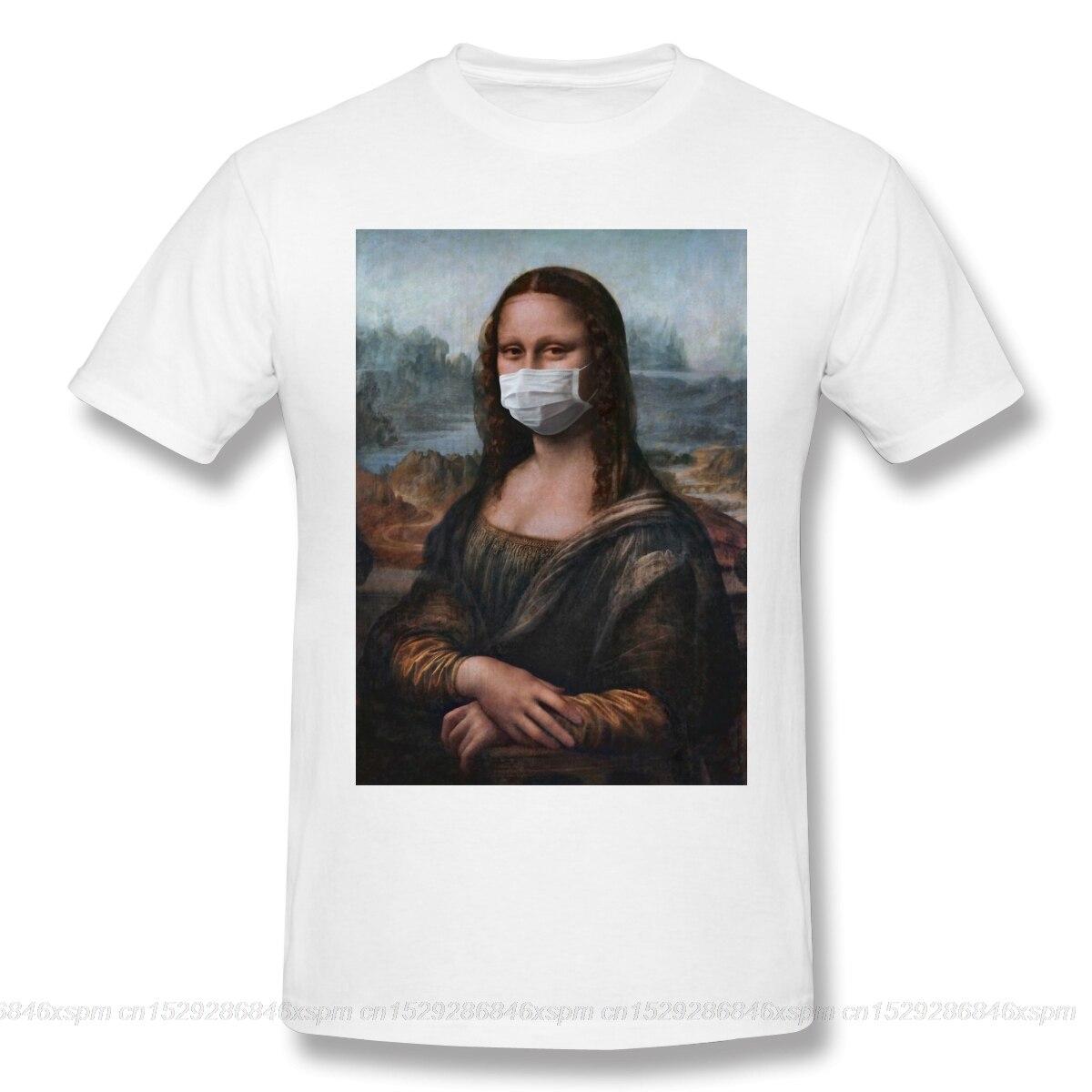 T-Shirts for Men Mona Lisa Funny monalisa mask Crewneck Cotton Graphic T Shirt off white Short Sleeve Tees Printed(China)