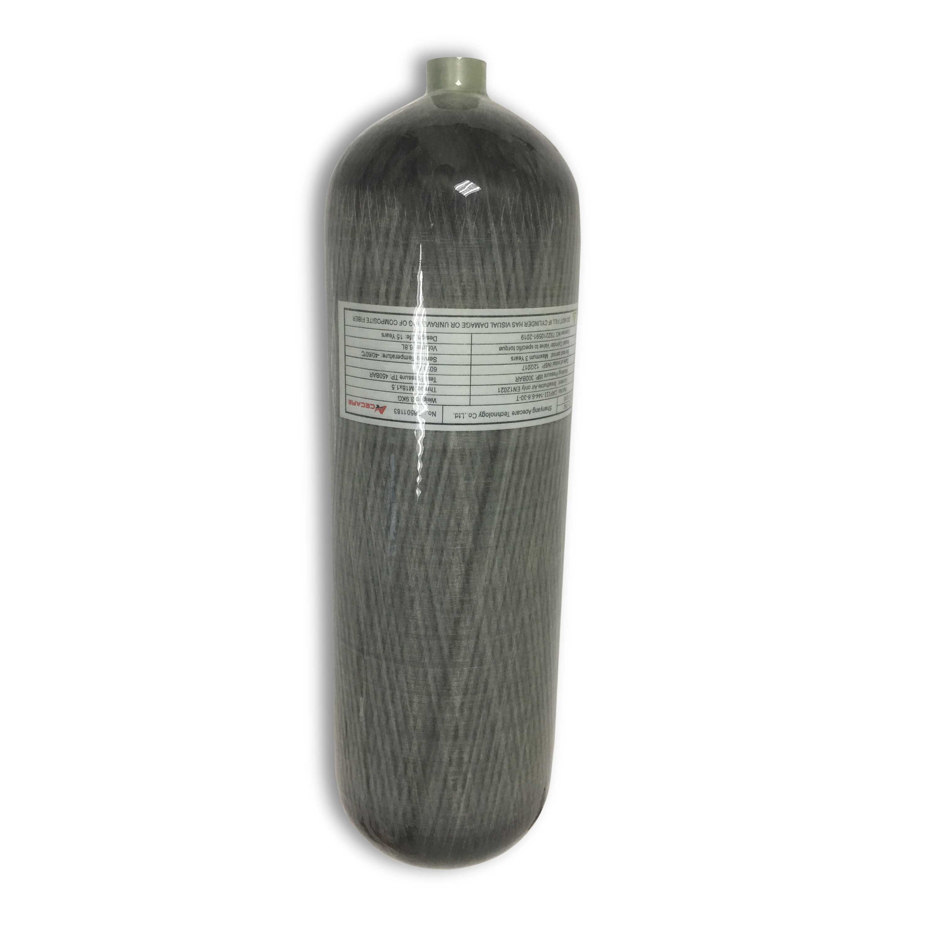 AC168 High Pressure Oxygen Tank/SCBA Diving Bottles/Paintball Tank/4500psi 300bar 6.8L Composite Carbon Fiber Cylinder Acecare