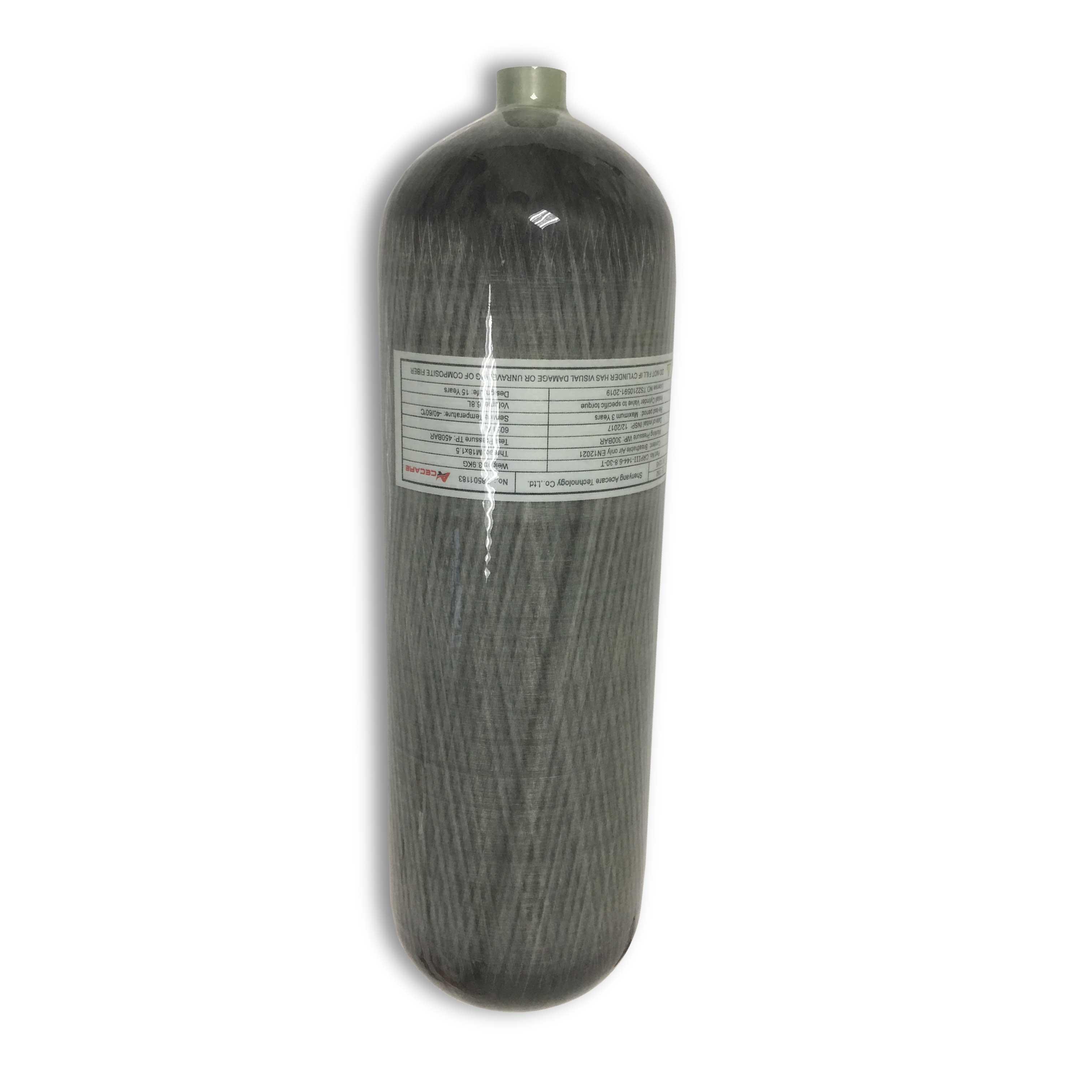 AC168 High Pressure Oxygen Tank/SCBA Diving Bottles/Paintball Tank/4500psi 300bar 6.8L Composite Carbon Fiber Cylinder Acecare