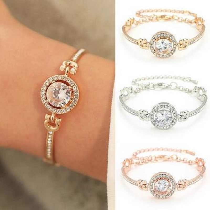 אופנה חדשה אישיות נובל ריינסטון סגולה צמידי זהב כסף רוז זהב נשוי צמיד נשים תכשיטים