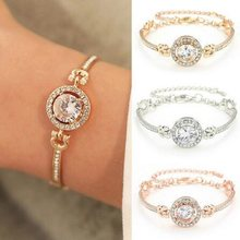 Fashion New Personality Noble Rhinestone Charm Bracelets Golden Silver Rose Gold Married Bracelet Women Fashion Jewelry(China)