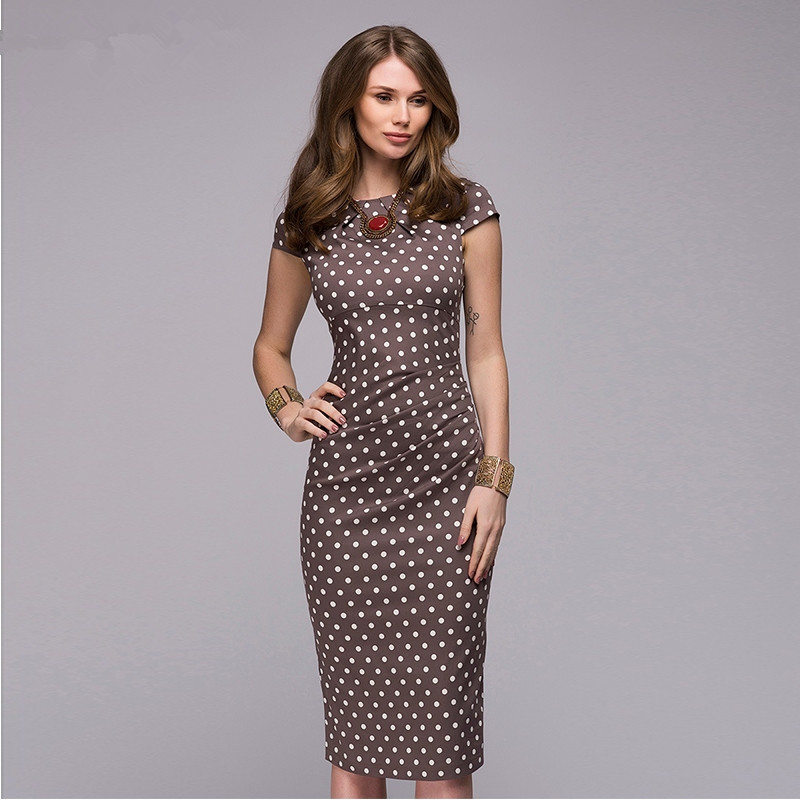 2019 Spring Summer Dress Women Dot Print Slim Dress Short Sleeve Office Business Dress Elegant Sheath Party Vestidos