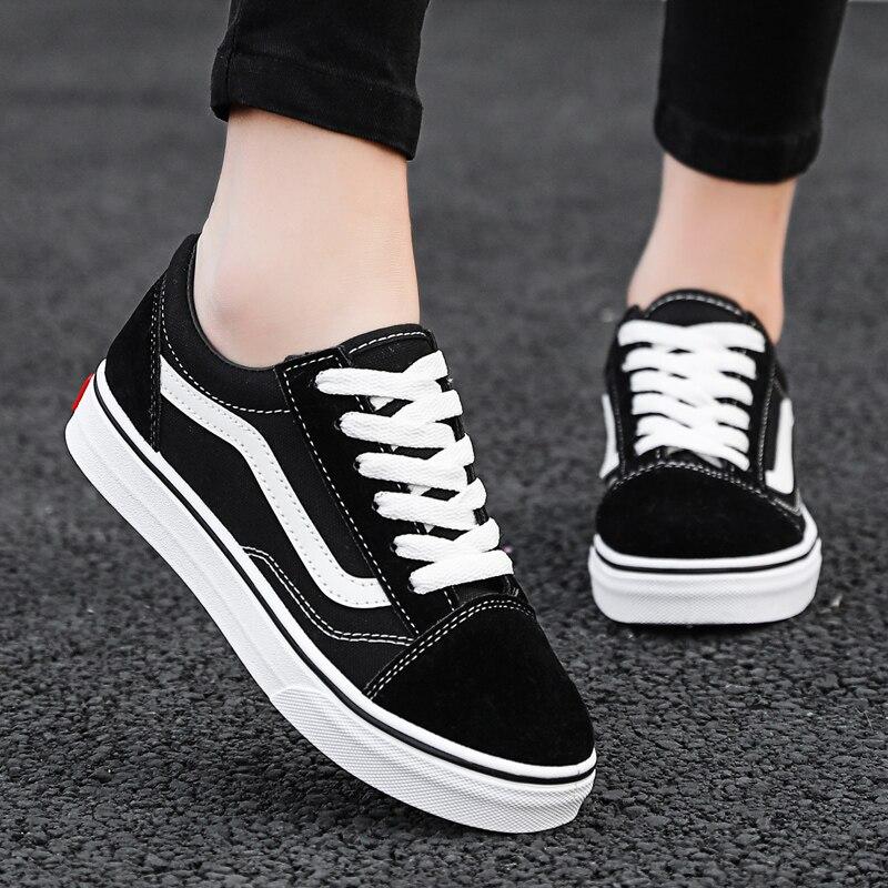 Women Luxury Sneakers Flat Lace Up Black Unisex Vulcanized Shoes Men Rubber Sole Casual Autumn Big Size Non slip Footwear 2020|Women's Vulcanize Shoes| - AliExpress
