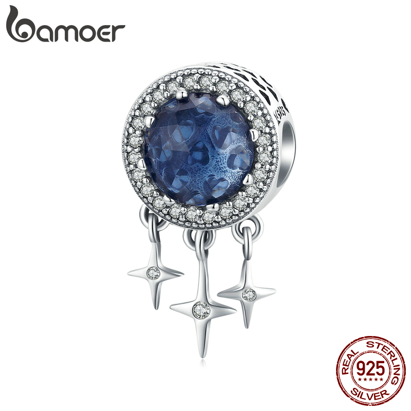 Bamoer Sterling Silver 925 Charms For Jewelry Making Deep Blue Glass Beads Star Charm Fit Original Bracelet DIY Jewelry SCC1432