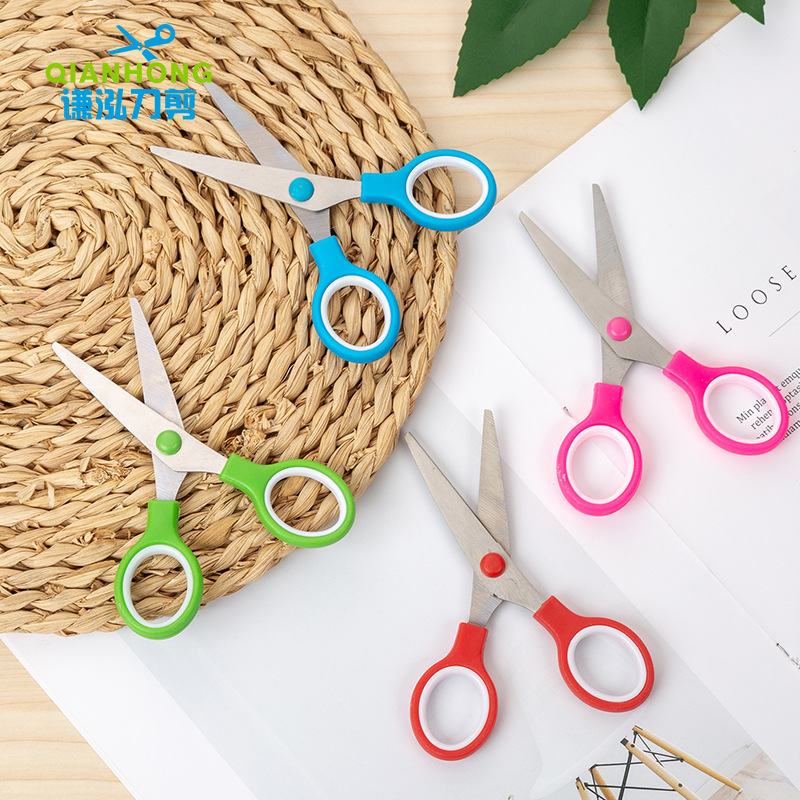 Qian Wang Stationery Round-Toe Cute Handmade Paper Cutting DIY Album Photo Album Cut Photo Soft Handle Plastic Safe Scissors