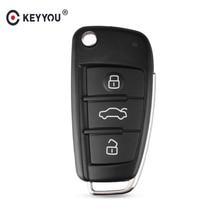 KEYYOU Remote Flip Car Key Case Shell Replacement For Audi A2 A3 A4 A6 A6L A8 Q7 TT 2008 2009 2010 2011 Key 3 Buttons Fob Case