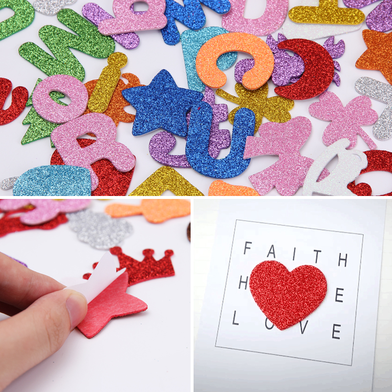 Cartoon Glittering Effect Diy Stickers For Children Kids Baby Home Decoration Decals Numbers And Letters EVA Foam Wall Sticker
