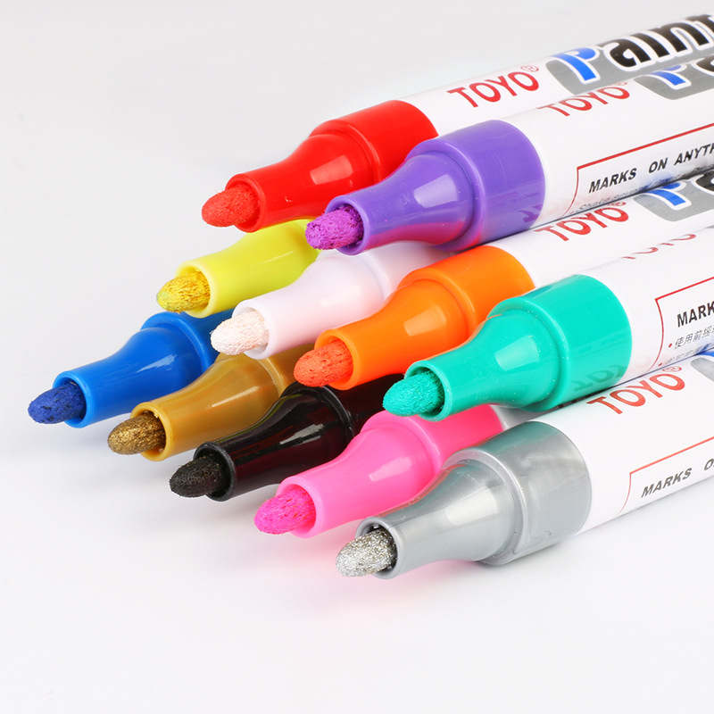 Image 2 - 1pc White Permanent Oil Based Paint Pen Car Bike Tyre Tire Metal Marker Waterproof Non Fading for Tire Paint Pen 11 COLORS-in Car Stickers from Automobiles & Motorcycles