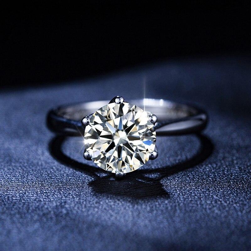 Élégant 1.0ct-2.0ct Moissanite 14K véritable blanc solide or anneaux de mariage bandes pour les femmes mariée petite amie diamant Test passé
