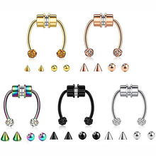 Details about  /6PCS Surgical Steel Horseshoe Nose Clip On Septum Lip Hoop Rings Fake Piercing