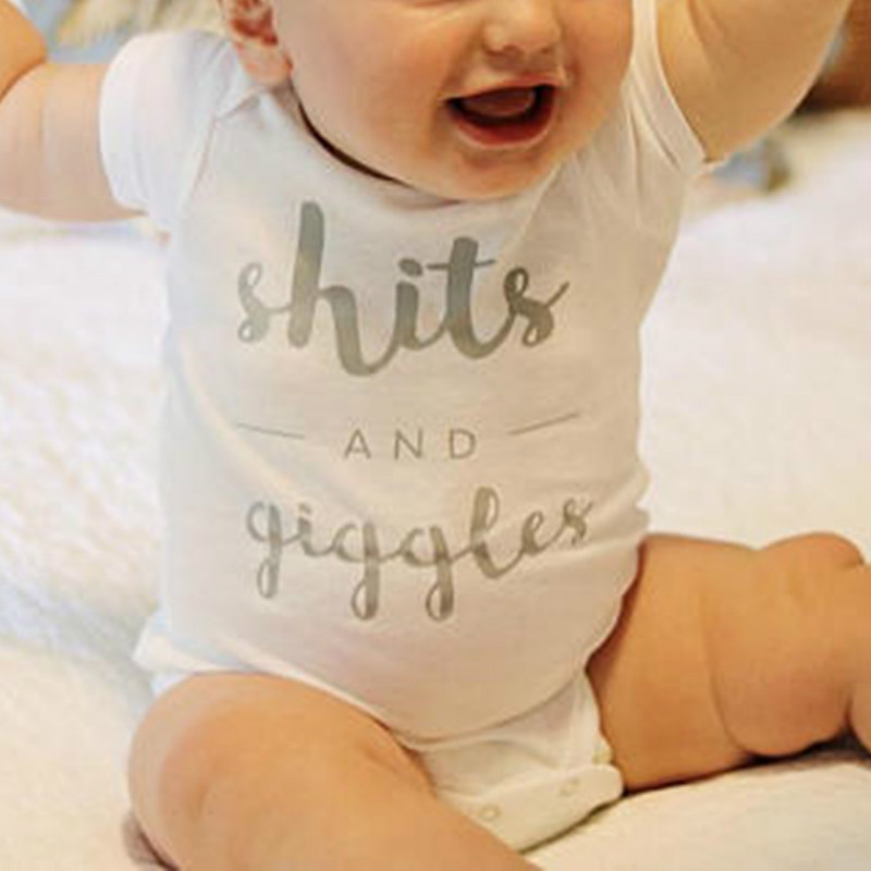 Unisex Infant Baby Boys Girls Funny Romper Toddler Long Sleeves Shits and Giggles Bodysuit Onesies Outfits
