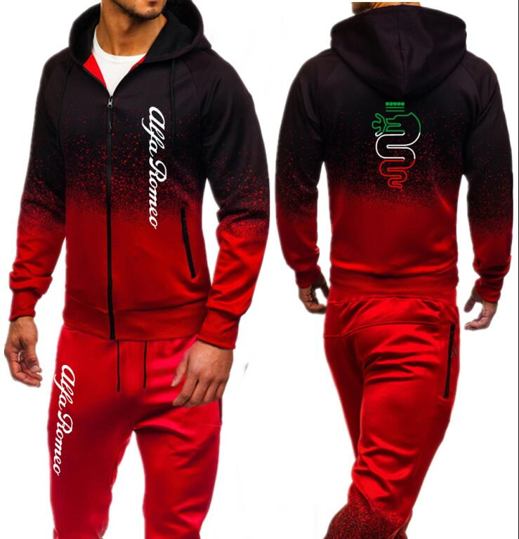 Men Sets Fashion Autumn Spring Sporting Suit Sweatshirt Sweatpants Alfa Romeo Print Mens Zipper Hoodies Pants Slim Tracksuit