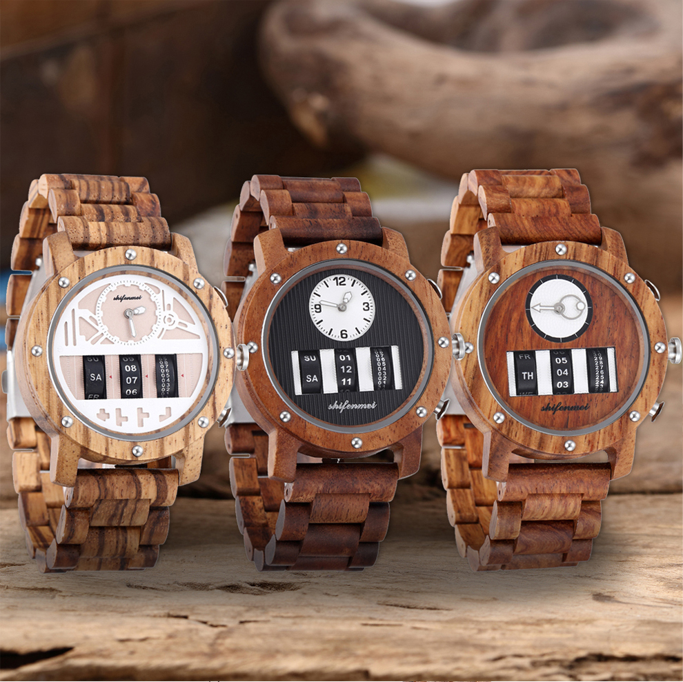 Shifenmei Wood Men Watch Digital WristWatches Chronograph Roller Dual Displays Clock Band Waterproof Watches Male relojes hombre