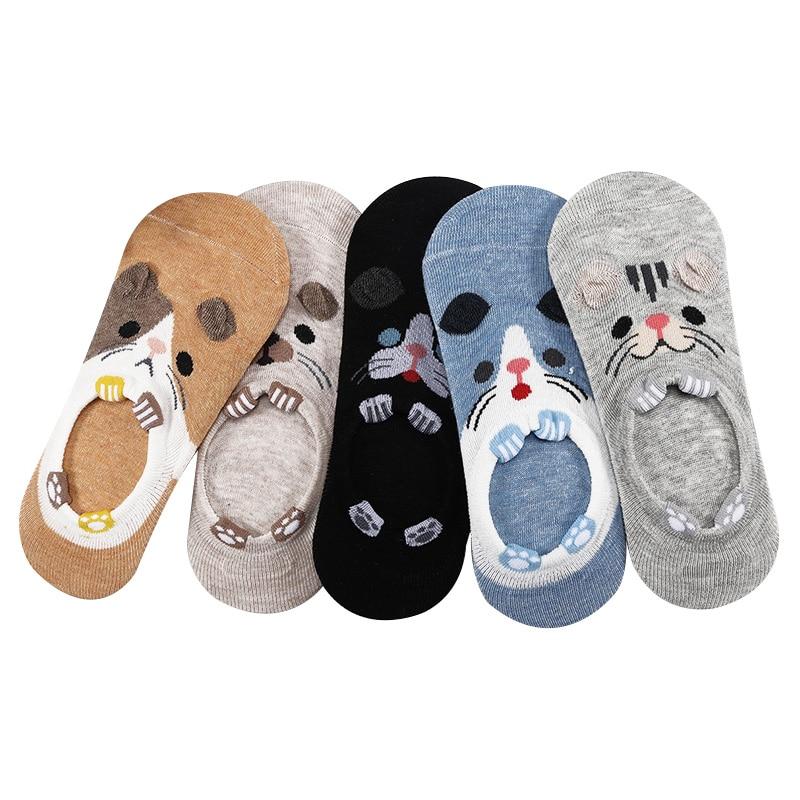 10 шт. = 5 пар/лот, женские невидимые летние носки, милые носки с животными в стиле Харадзюку, забавные низкие Носки с рисунком кота, медведя, кр...