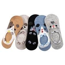 10 peças = 5 pares/lote meias invisíveis femininas verão bonito harajuku animal meias gato urso coelho engraçado baixo corte tornozelo feliz meias