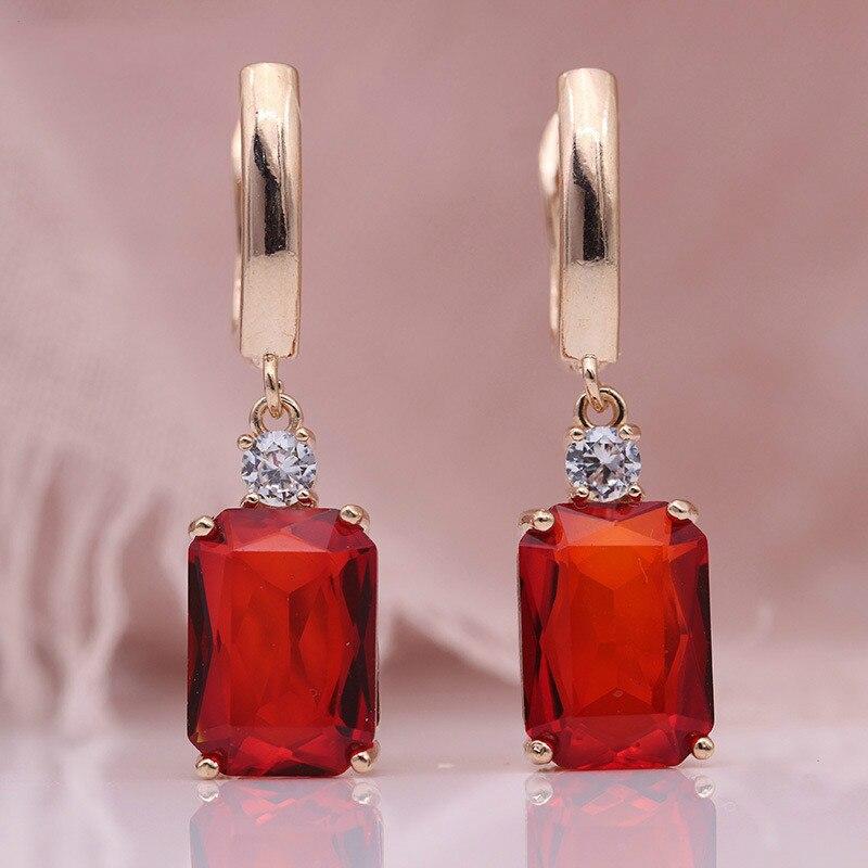 Luxury Purple Crystal Dangle Drop Earrings Colour Gems Zircon Bridal Earrings Blue Crystal Wedding Engagement Women Jewelry Gift