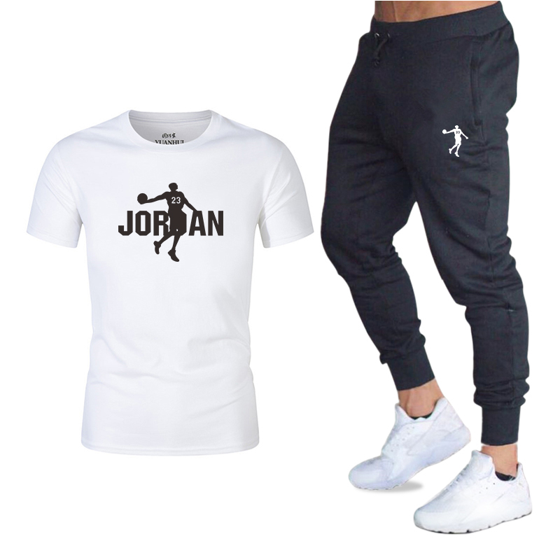 2020 Summer New European And American Trend Short Sleeve Two-piece Men's Sportswear Men's Casual Sports Suit Men's Tide Factory