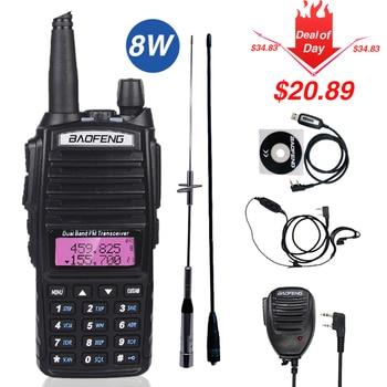 Real 8W Baofeng UV-82 Walkie Talkie 10km uv 82 Radio de dos vías UV82 VHF UHF Dual transceptor de banda de caza portátil CB Radio de jamón
