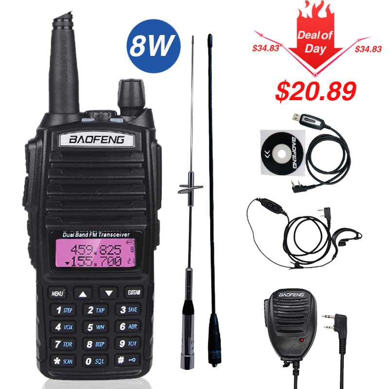 Real 8W Baofeng UV-82 Walkie Talkie 10km Uv-82hp Two Way Radio UV82  VHF UHF Dual Band Transceiver Hunting Portable CB Ham Radio