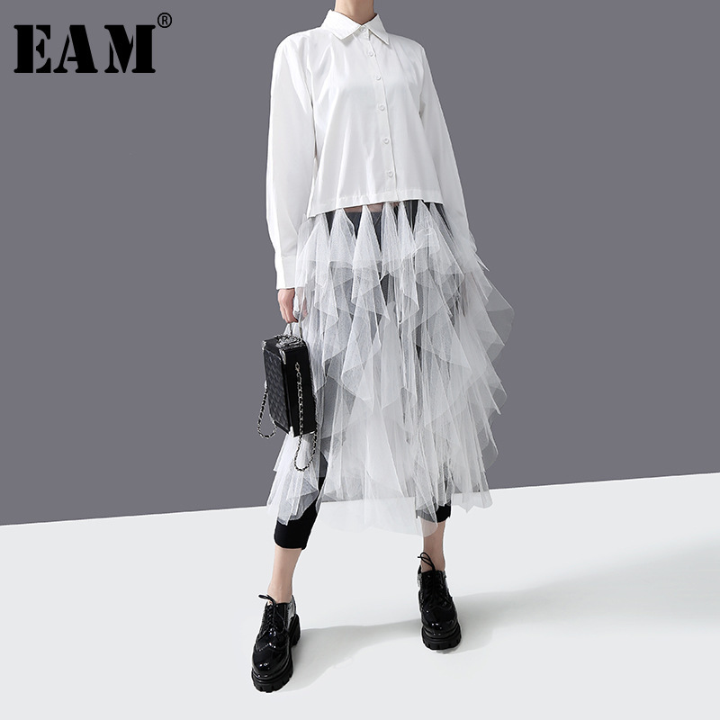 [EAM] Women White Mesh Ruffles Spliit Long Blouse New Lapel Long Sleeve Loose Fit Shirt Fashion Tide Spring Autumn 2020 1R301