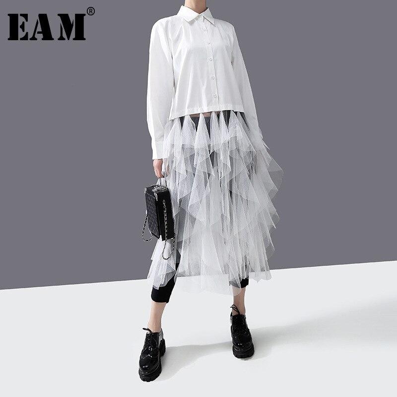 [EAM] Women White Mesh Ruffles Spliit Long Blouse New Lapel Long Sleeve Loose Fit Shirt Fashion Tide Spring Autumn 2020 1R301